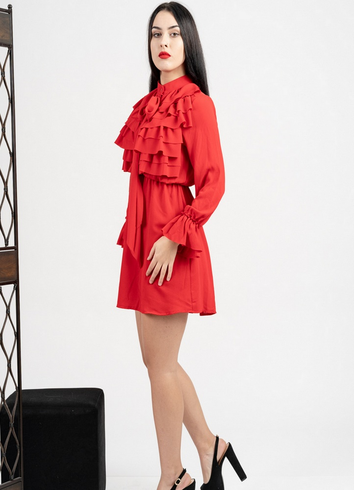 f5b866227018 1150 ΜΙΝΙ ΦΟΡΕΜΑ ΚΟΚΚΙΝΟ ΜΕ ΒΟΛΑΝ - Μοντέρνα γυναικεία ρούχα Online ...