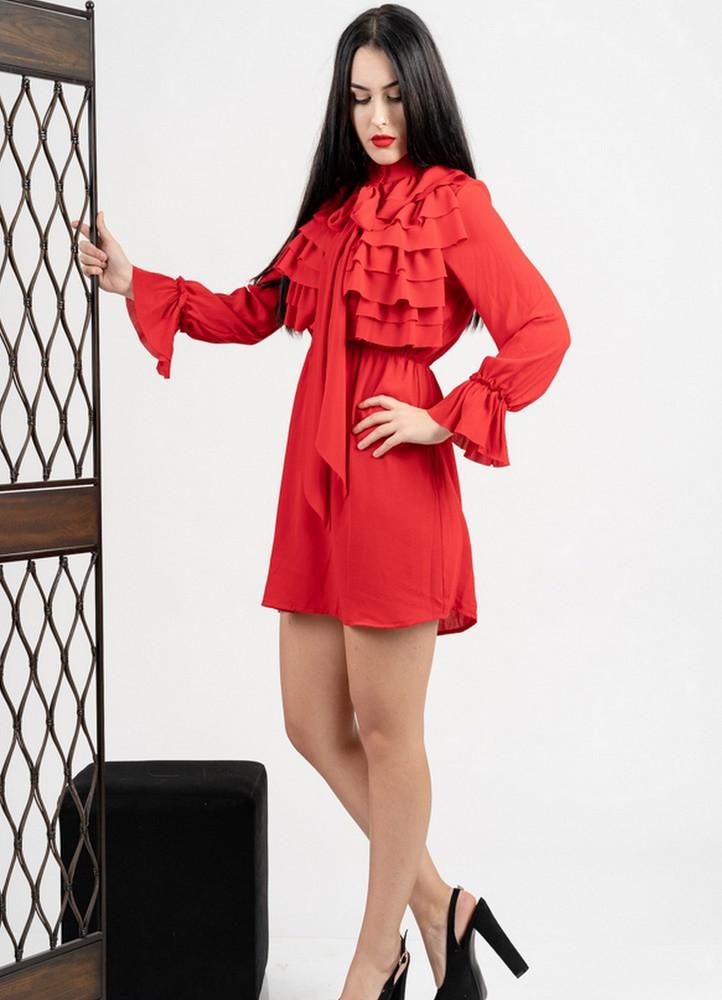 757f116554ad 1150 ΜΙΝΙ ΦΟΡΕΜΑ ΚΟΚΚΙΝΟ ΜΕ ΒΟΛΑΝ - Μοντέρνα γυναικεία ρούχα Online ...