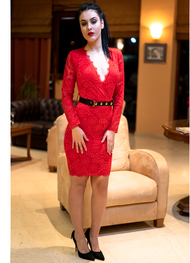 55b60f1fca97 1254 ΚΟΚΚΙΝΟ ΦΟΡΕΜΑ ΜΕ ΔΑΝΤΕΛΑ - Μοντέρνα γυναικεία ρούχα Online ...
