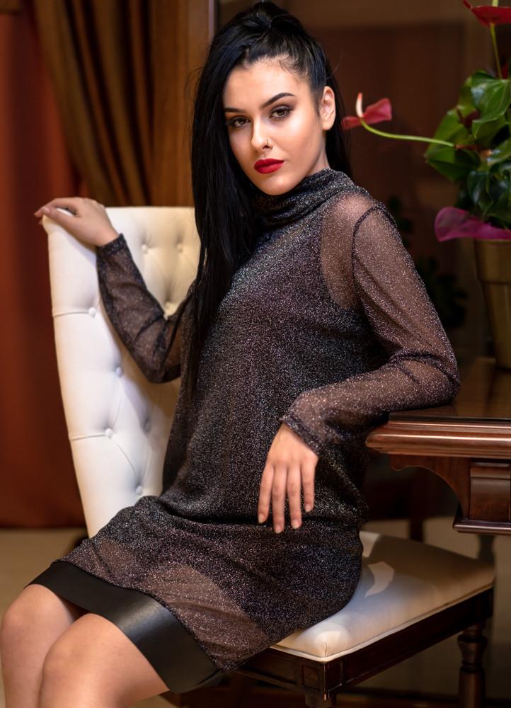 1257 ΦΟΡΕΜΑ ΜΙΝΤΙ ΜΕ ΔΙΑΦΑΝΕΙΑ ΜΕΤΑΛΙΖΕ - Μοντέρνα γυναικεία ρούχα ... 9f30bd4e513