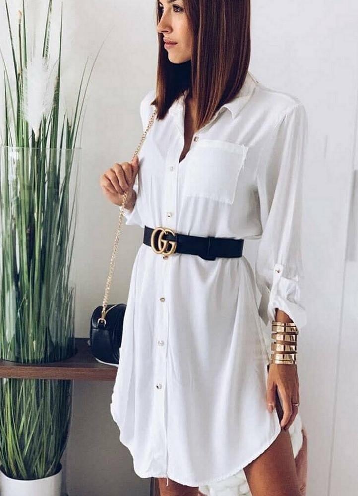 3718e57b6b 1349 ΦΟΡΕΜΑ ΛΕΥΚΟ ΜΕ ΚΟΥΜΠΙΑ - Μοντέρνα γυναικεία ρούχα Online ...