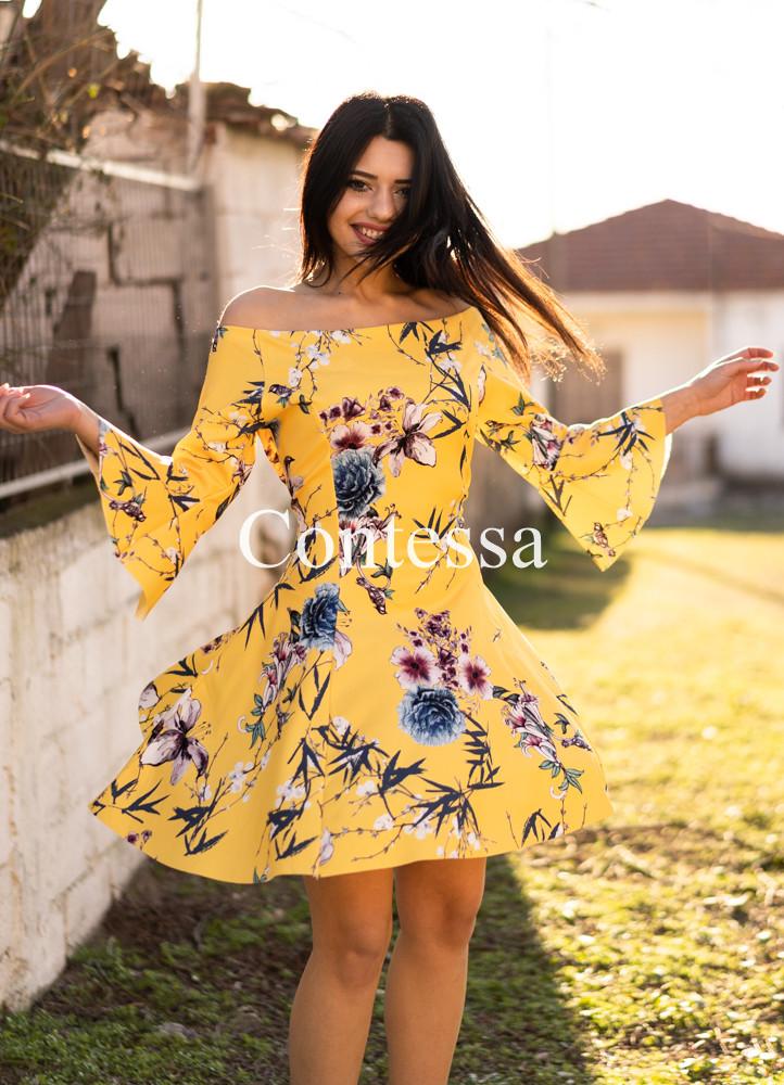 887ca8d342c5 1496 ΦΟΡΕΜΑ ΦΛΟΡΑΛ ΚΙΤΡΙΝΟ - Μοντέρνα γυναικεία ρούχα Online ...