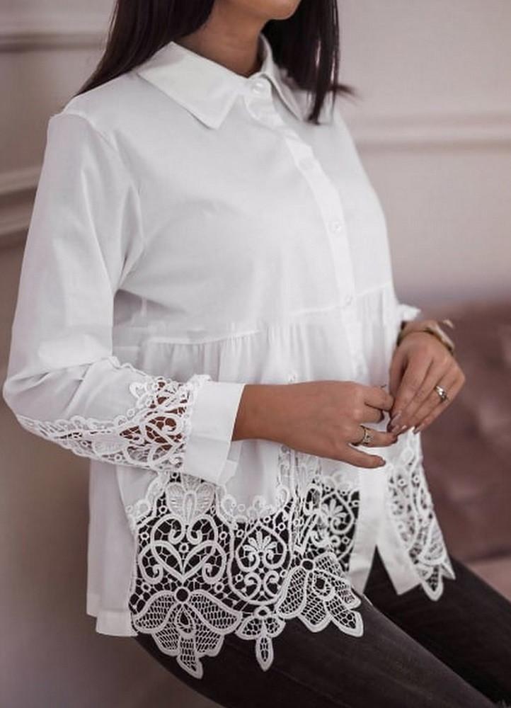 ce8bbfc26f 1546 ΛΕΥΚΟ ΠΟΥΚΑΜΙΣΟ ΜΕ ΔΑΝΤΕΛΑ - Μοντέρνα γυναικεία ρούχα Online ...
