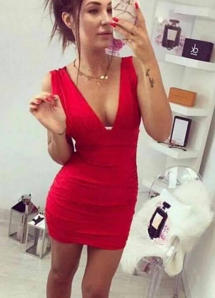 b89b451ec06a 1799 ΦΟΡΕΜΑ ΜΙΝΙ ΚΟΚΚΙΝΟ ΜΕ V ΜΠΡΟΣΤΑ - Μοντέρνα γυναικεία ρούχα ...