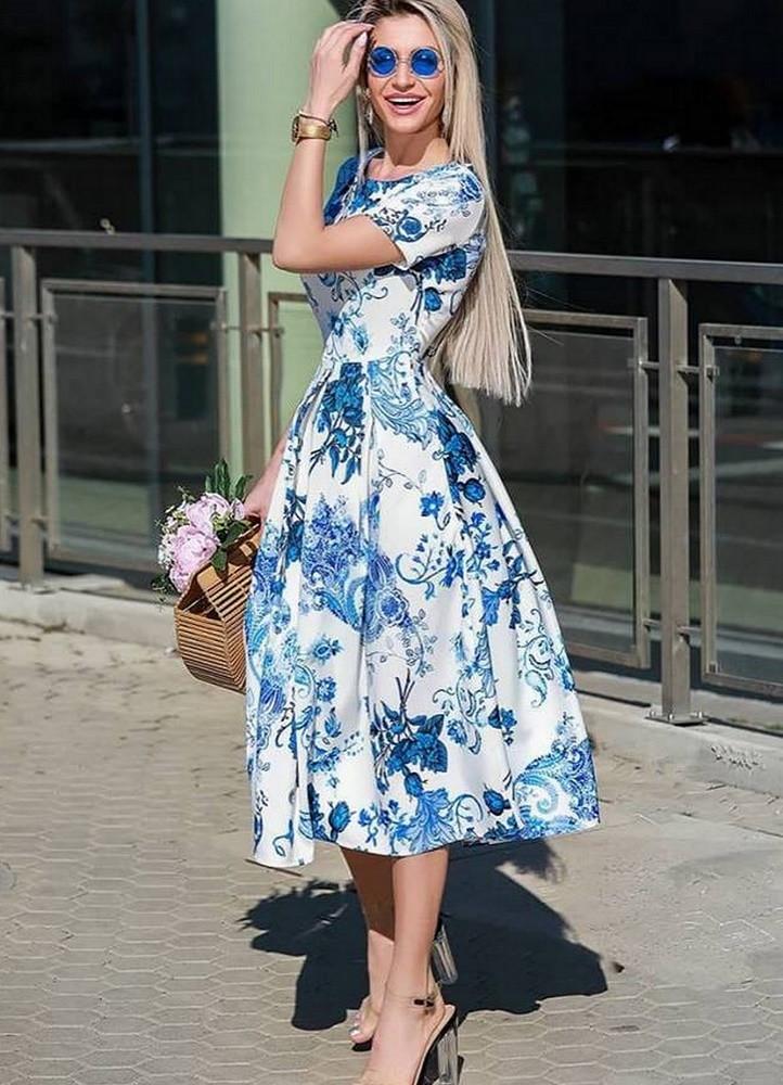 4b7fbfee080c 2349 ΜΙΝΤΙ ΦΟΡΕΜΑ ΦΛΟΡΑΛ ΜΕ ΚΟΝΤΟ ΜΑΝΙΚΙ - Μοντέρνα γυναικεία ρούχα Online  | Contessafashion.gr