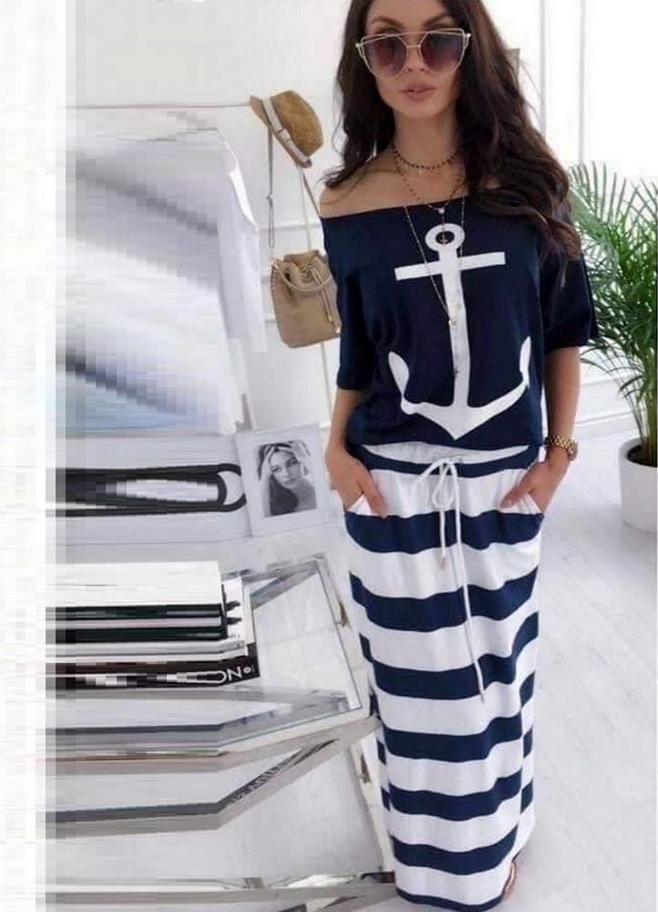41b223fc99c5 2585 ΜΠΛΕ ΜΑΞΙ ΦΟΡΕΜΑ ΜΕ ΡΙΓΕΣ - Μοντέρνα γυναικεία ρούχα Online ...