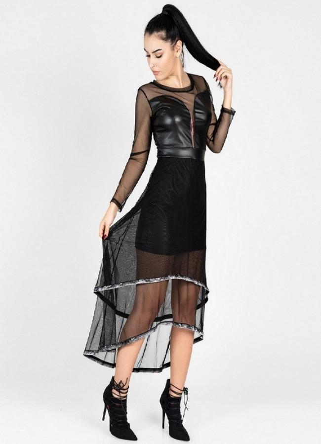 f9a4e3c8dec3 1025 ΜΑΥΡΟ ΜΙΝΤΙ ΦΟΡΕΜΑ ΑΣΥΜΕΤΡΟ ΜΕ ΔΙΑΦΑΝΕΙΑ - Μοντέρνα γυναικεία ρούχα  Online