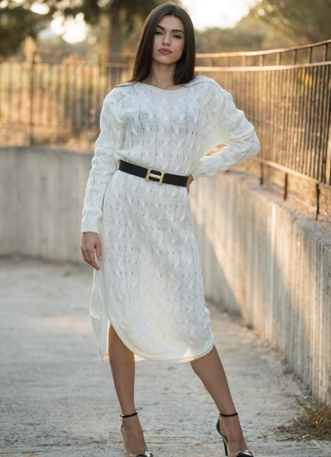 880 ΜINTI ΑΣΠΡΟ ΠΛΕΚΤΟ ΦΟΡΕΜΑ - Μοντέρνα γυναικεία ρούχα Online ... d91647812cc